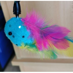 Canne a pêche plumes multicolores